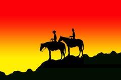 jeździec sylwetki Zdjęcie Royalty Free
