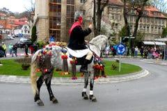 Jeździec w w centrum Brasov Zdjęcia Royalty Free