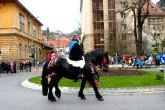 Jeździec w w centrum Brasov Fotografia Stock