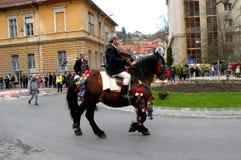 Jeździec w w centrum Brasov Obrazy Royalty Free