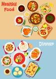 Je lunch menu ikonę ustawiającą z głównymi naczyniami i deserem royalty ilustracja