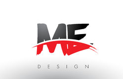 JE M E Brush Logo Letters avec l'avant de brosse de bruissement de rouge et de noir Photographie stock libre de droits