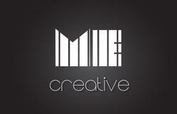JE M E Letter Logo Design With White et lignes noires Photographie stock libre de droits