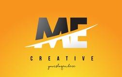 JE M E Letter Modern Logo Design avec le fond jaune et le Swoo illustration de vecteur