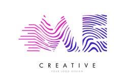 JE M E Zebra Lines Letter Logo Design avec des couleurs magenta Images stock
