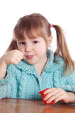 je małego dziewczyna jogurt Zdjęcia Stock
