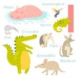 Je marque avec des lettres des animaux réglés Alphabet anglais Illustration de vecteur Image stock