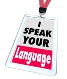Je parle votre traducteur de badge nominatif de langue Photographie stock libre de droits