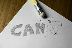 Je peux le ` t, écrit au crayon avec le t effacé photographie stock libre de droits
