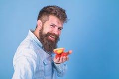 Je prends des festins pour vous Fraises et pomme barbues de prises de hippie sur la paume Offres d'homme pour essayer les fraises image stock