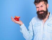 Je prends des festins pour vous L'homme offre d'essayer des fraises et le fruit de pomme traite le fond bleu Visage adroit d'homm images libres de droits