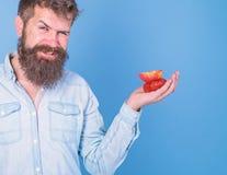 Je prends des festins pour vous L'homme offre d'essayer des fraises et le fruit de pomme traite le fond bleu Visage adroit d'homm image libre de droits