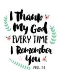 Je remercie mon Dieu chaque fois que je me rappelle vous Images libres de droits
