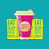 Je sen kawowej powtórki pojęcia kreskówki lub ilustraci wektorowego plakat wektorowa ostra kawowa papierowa filiżanka z śmiesznym royalty ilustracja