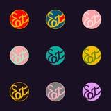 Je set logotypu ręka rysujący literowanie w różnych kolorach ilustracja wektor