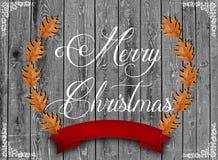 Je souhaite que vous qu'un Joyeux Noël a écrit et le brun part Photo stock