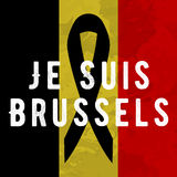 Je suis brussels. I am brussels poster Tribute to victims of terrorism attack in Brussels airport metro, march 22, 2016 Royalty Free Stock Images