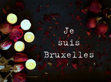 Je suis Bruxelles. I am Brussels. Condolence background dedicate. Je suis Bruxelles. Translation from French into English I am Brussels Royalty Free Stock Photos