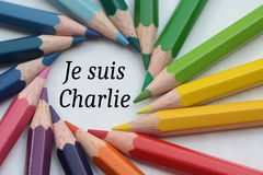 Je suis Charlie, colored pencils Royalty Free Stock Images