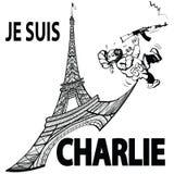 Je suis Charlie i Paris Arkivfoto