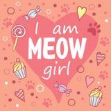 Je suis fille de miaulement Image libre de droits