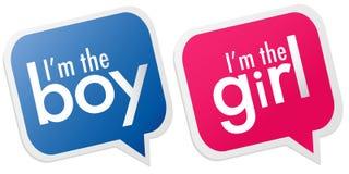 Je suis le garçon, je suis les étiquettes de fille Images stock