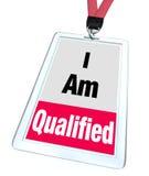 Je suis professionnel honorable qualifié de permis certifié par insigne Photos stock
