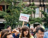 Je suis rien przy protestem przeciw Macron, soyons konika plakat Obrazy Stock