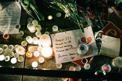 Je suis Strasburska wiadomość po ataka terrorystycznego przy bożymi narodzeniami M zdjęcie royalty free