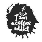 Je suis une calligraphie et une tache d'intoxiqué de café Photographie stock