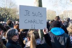 Je suisCharlie manifestation royaltyfri foto
