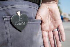 Je t aime,我爱你用法语 图库摄影