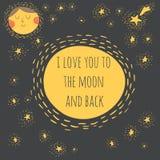 Je t'aime à la lune et au dos illustration stock