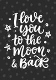 Je t'aime à la lune et au dos Lettrage écrit par main Image libre de droits