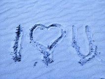 Je t'aime écrit en sable Photo libre de droits