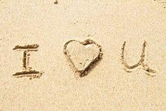 Je t'aime écrit en sable Photos libres de droits