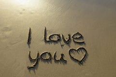 Je t'aime écrit en sable Photographie stock libre de droits