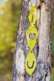 Je t'aime écrit sur une feuille d'automne Photo libre de droits
