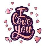 Je t'aime Affiche inspirée de motivation de lettrage de main pour le jour de valentines Photographie stock libre de droits