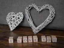 Je t'aime avec deux formes de coeur Photographie stock libre de droits