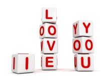 Je t'aime blocs blancs de jouets pour le jour de valentines illustration de vecteur