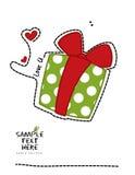 Je t'aime boîte-cadeau vert enveloppé Image stock