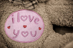 Je t'aime Brown Teddy Bear Photographie stock