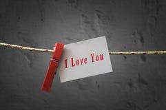 Je t'aime carte attachée à une corde avec des pinces à linge image stock