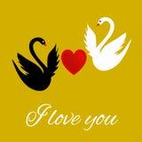 Je t'aime carte de voeux avec un coeur et des cygnes Image stock