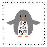 Je t'aime - carte de voeux pour le jour heureux de Valintines Pingouin mignon Signe de calligraphie Image libre de droits