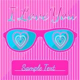 Je t'aime carte postale avec les verres hypnotiques de coeurs Image stock