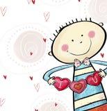 Je t'aime carte postale Garçon mignon avec les coeurs Carte de voeux du jour de Valentine Fond d'amour Th le grand coeur illustration libre de droits