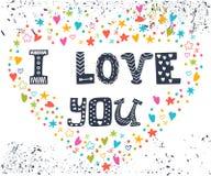 Je t'aime Carte romantique avec le coeur Photos libres de droits