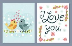 Je t'aime cartes en liasse avec les oiseaux et les fleurs mignons Photo stock